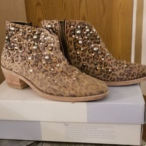 Free People Studded Leopard Print Booties